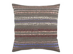 Embroidered Khaki and Multicolored Polka Dot-Patterned Throw Pillow
