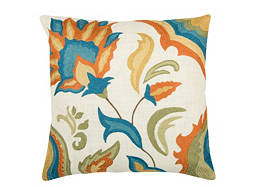 Floral-Patterned Multicolored Throw Pillow