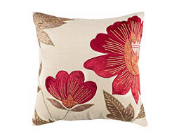 Floral-Patterned Ivory and Burgundy Throw Pillow