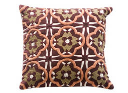 Embroidered Multicolored Throw Pillow