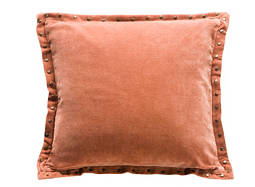 Rivet-Edged Burnt Orange Throw Pillow