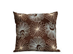 Embroidered Brown and Blue Throw Pillow
