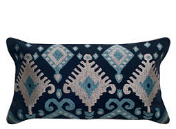 Ikat-Patterned Navy and Silver Kidney Pillow