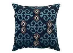 Ikat-Patterned Navy and Silver Throw Pillow
