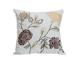 Floral-Patterned Aqua Throw Pillow
