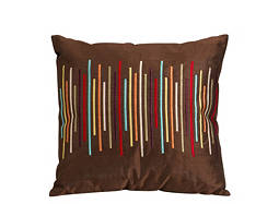 Striped Brown and Multicolored Throw Pillow