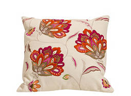 Floral-Patterned Ivory and Multicolored Throw Pillow