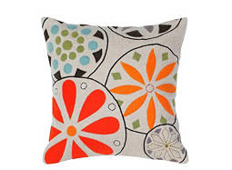 Floral-Patterned Beige and Multicolored Throw Pillow