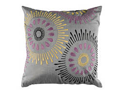 Abstract-Print Gray and Yellow Throw Pillow