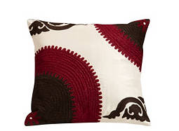 Embroidered Brown and Raspberry Throw Pillow