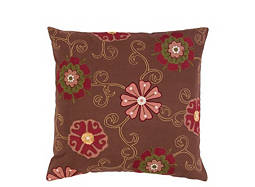 Floral-Patterned Brown and Multicolored Throw Pillow