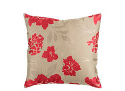 Floral-Patterned Taupe and Pink Throw Pillow