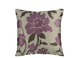 Floral-Patterned Taupe and Plum Throw Pillow