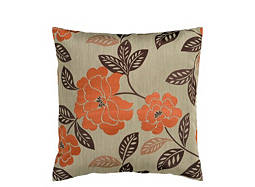 Floral-Patterned Taupe and Burnt Orange Throw Pillow