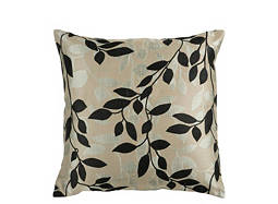 Leaf-Patterned Beige and Black Throw Pillow