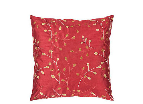 Throw Pillows Red And Gold : Leaf-Patterned Red and Gold Throw Pillow Throw Pillows Raymour and Flanigan Furniture ...