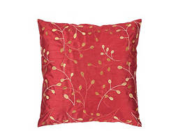 Leaf-Patterned Red and Gold Throw Pillow