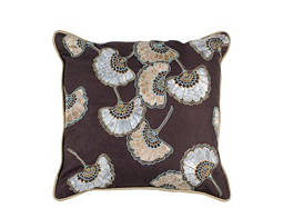 Floral-Patterned Greige and Pewter Throw Pillow