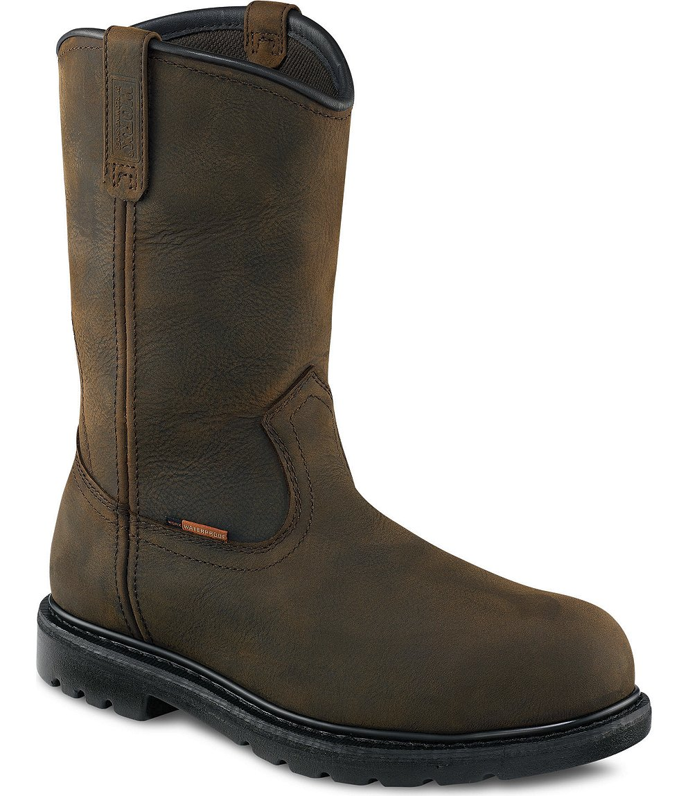 Red Wing Safety Boots - 5700 WORX Men&39s - 10-inch Pull-On Boot Brown