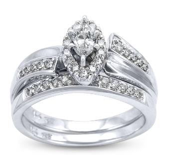 u two wedding set with round and marquise diamonds