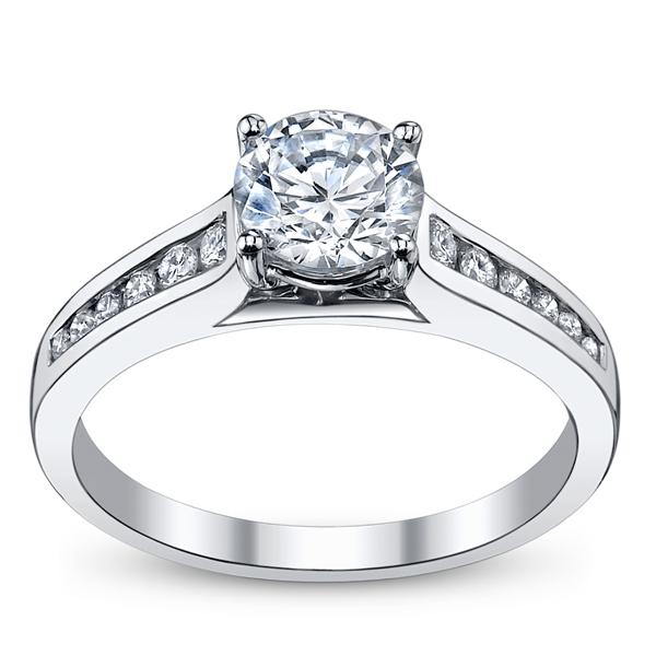 14K White Gold Diamond Engagement Ring Setting. Slide 3. Slide 1