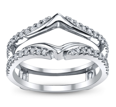 14k white gold diamond ring guard 13 ct tw - Wedding Ring Guard