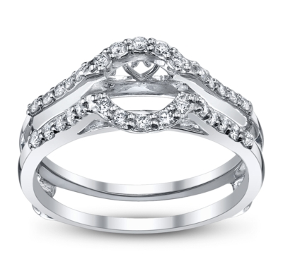 14k white gold diamond ring guard 14 carat total weight - Wedding Ring Guard