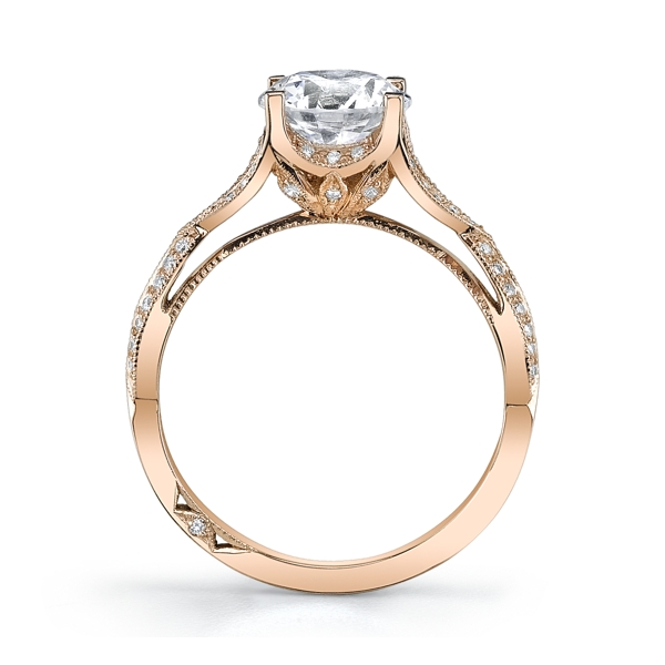 Tacori 18K Rose Gold Diamond Engagement Ring Setting. Slide 5. Slide 1.  Slide 2