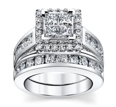 cherish 14k white gold engagement ring wedding set 3 cttw - Wedding Set Rings
