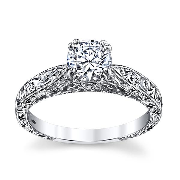 18K White Gold Engraved Solitaire Engagement Ring Setting by Kirk Kara.  Slide 5. Slide 1