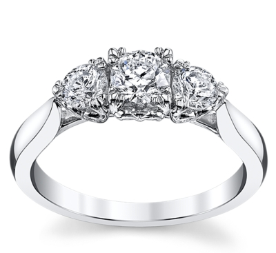 three stone 14k white gold diamond engagement ring 34 cttw - 3 Stone Wedding Rings