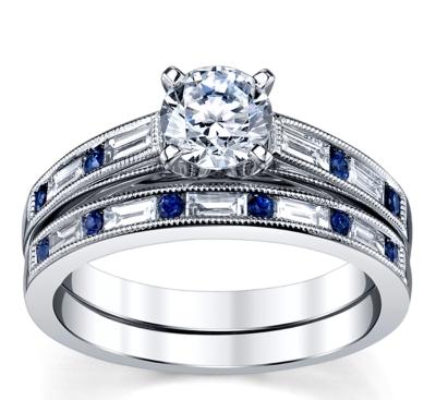 14k white gold blue sapphire diamond engagement ring wedding set setting 38 cttw - Blue Sapphire Wedding Ring Sets