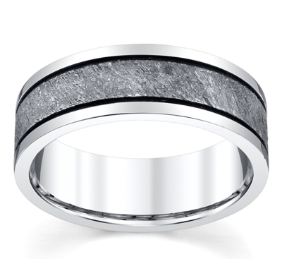 lashbrook cobalt and meteorite 75mm wedding band - Cobalt Wedding Rings