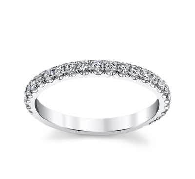 pre owned michael m 18k white gold wedding ring - Preowned Wedding Rings