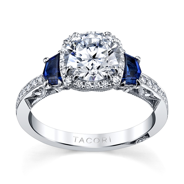 Tacori 18k White Gold Diamond Blue Sapphire Engagement