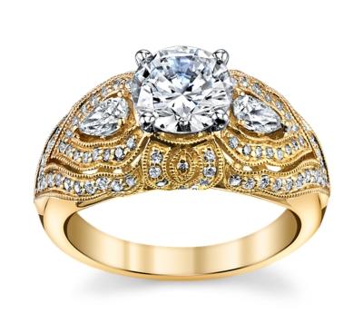Peter Lam 14K Yellow Gold Diamond Engagement Ring Setting 3/4 Cttw.