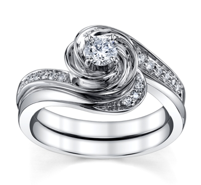 cherish 14k white gold engagement ring wedding set 13 cttw - Ring Wedding
