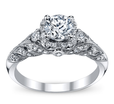 pre owned peter lam luxury 14k white gold diamond engagement ring setting 38 - Preowned Wedding Rings