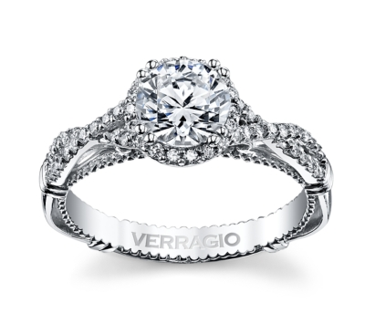 pre owned verragio 14k white gold diamond engagement ring setting 14 cttw - Preowned Wedding Rings