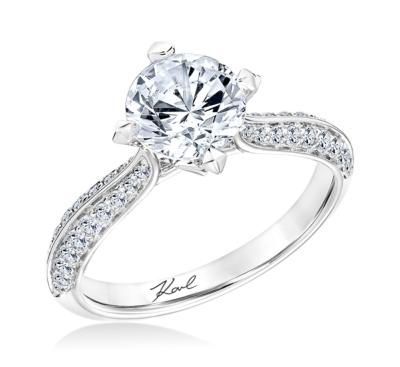 Karl Lagerfeld 18k White Gold Diamond Engagement Ring Setting 3/8 cttw