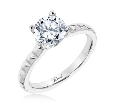 Karl Lagerfeld 18k White Gold Diamond Engagement Ring Setting 1/10 cttw