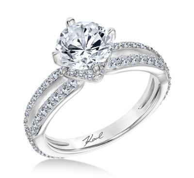 Karl Lagerfeld 18k White Gold Diamond Engagement Ring Setting 3/4 cttw
