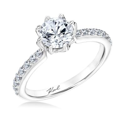 Karl Lagerfeld 18k White Gold Diamond Engagement Ring Setting 1/3 cttw