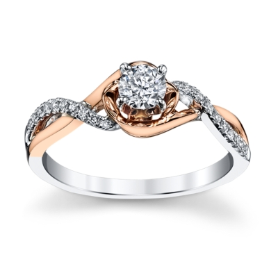 Cherish 14K Two Tone Diamond Engagement Ring 3/8 cttw