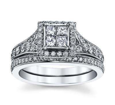 cherish 14k white gold diamond wedding set 1 cttw - Wedding Set Rings