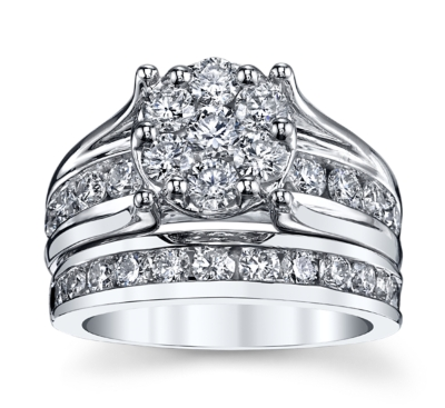 cherish 14k white gold diamond wedding set 2 12 cttw - Wedding Set Rings