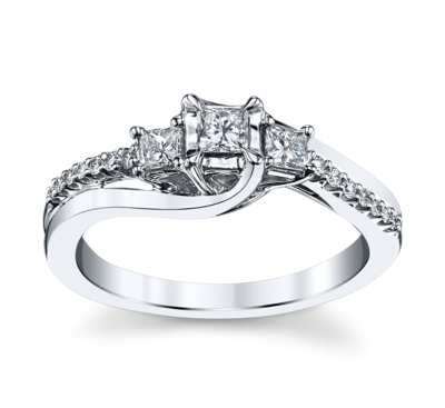 cherish 14k white gold diamond engagement ring 38 cttw - 3 Stone Wedding Rings