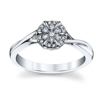 Cherish 14K White Gold Diamond Engagement Ring 1/7 cttw