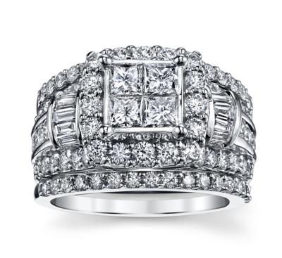 cherish 14k white gold diamond wedding set 3 cttw - Wedding Set Rings