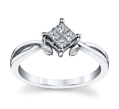 Cherish 14K White Gold Diamond Engagement Ring 1/4 cttw